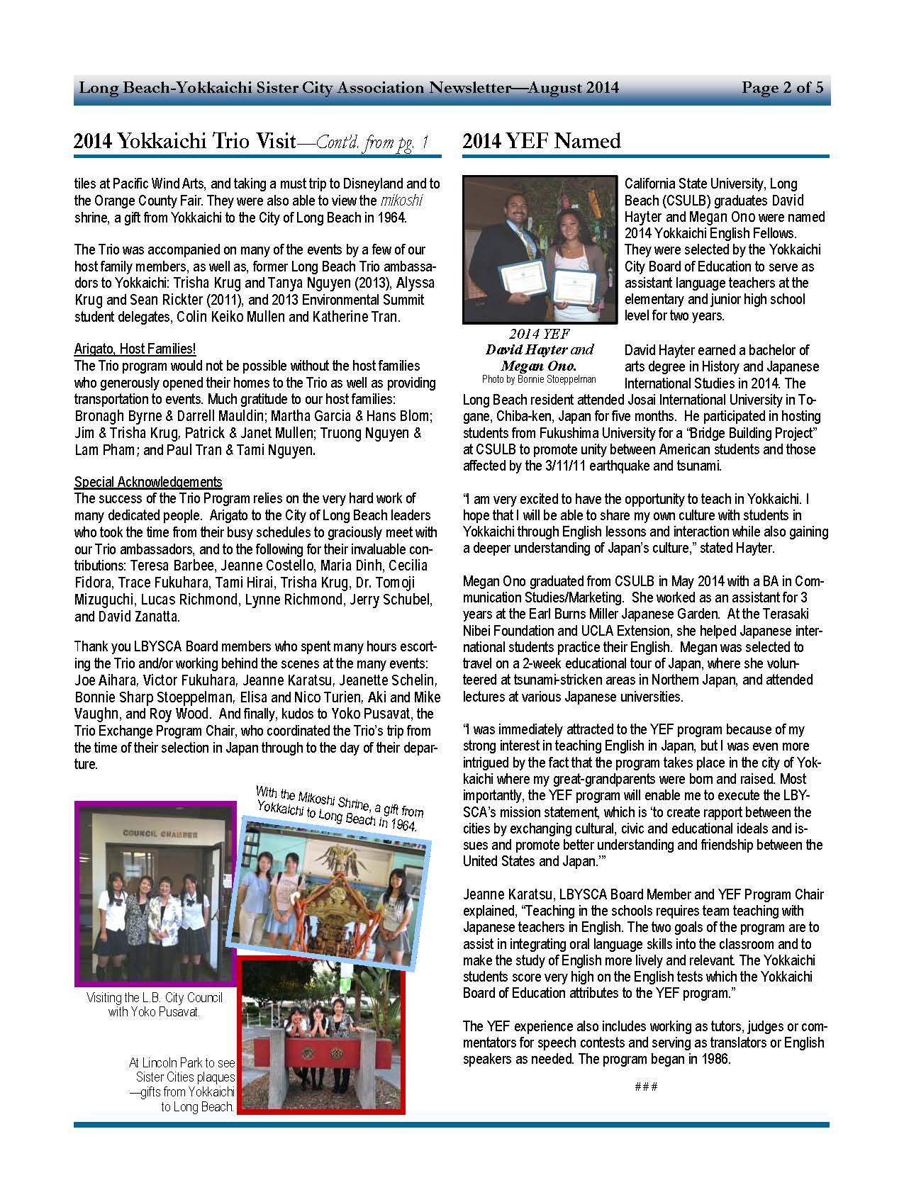 Yokkaichi Sister City Newsletter Aug 2014
