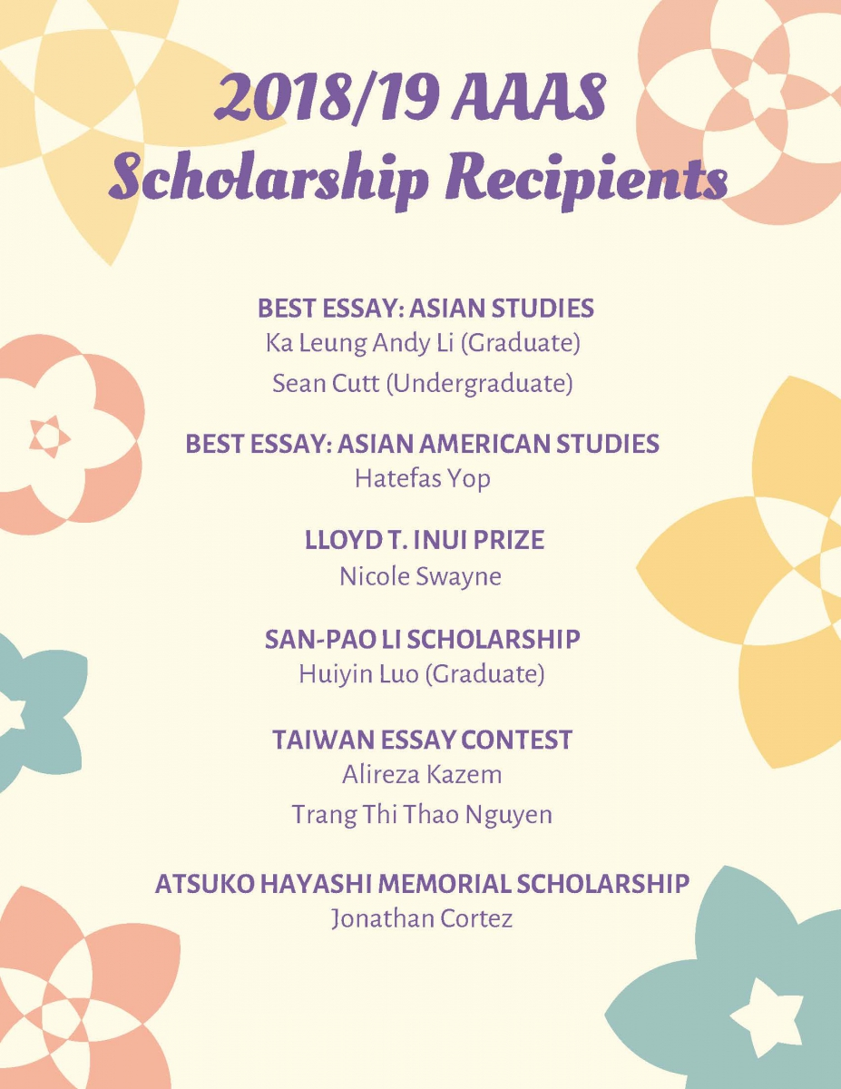 2019 AAAS Scholarship Award Recipients