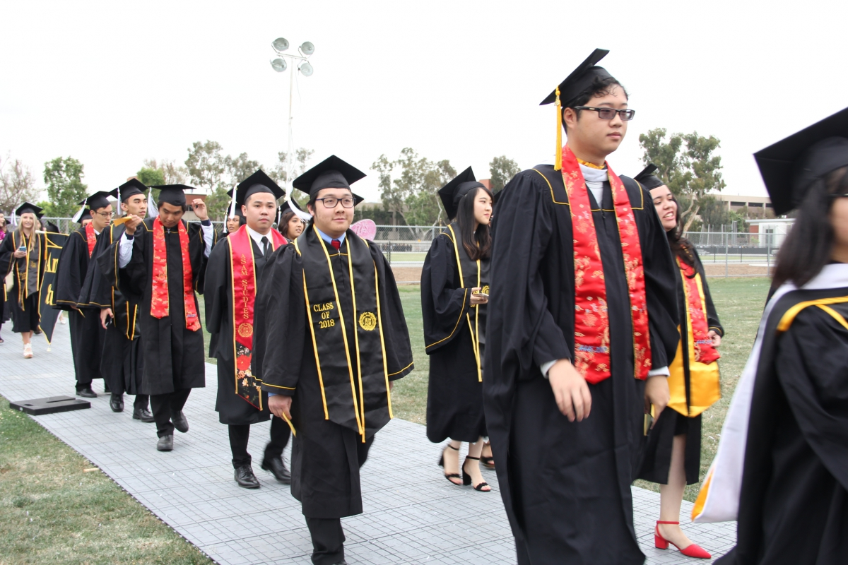 AAAS Graduating Students Walking to Commencement