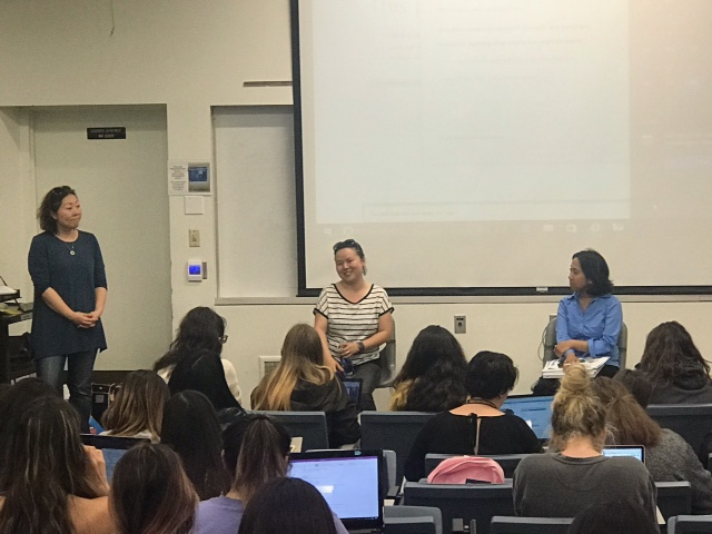 Dr. Barbara Kim introduces Lian Cheun, Executive Director of Khmer Girls in Action and Ivy Daulo, Partnership Specialist LA Regional Center U.S. Census Bureau.