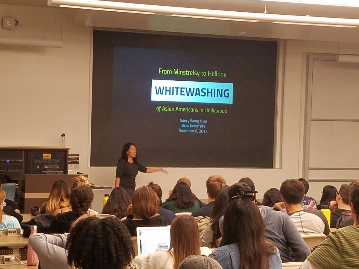 Guest Speaker Nancy Wang Yuen presents on the Whitewashing of Asian Americans in Hollywood, Nov 6, 2017