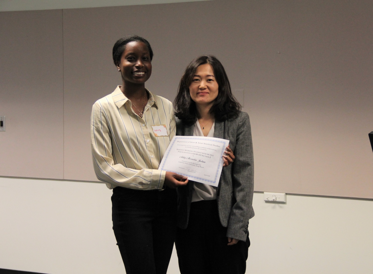 Prof. Ha's Outstanding Student in KOR 102 (02), Ashley Alexandria Jackson.