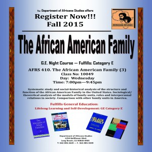 AFRS 410 The Black Family Announcement--Spring 2015