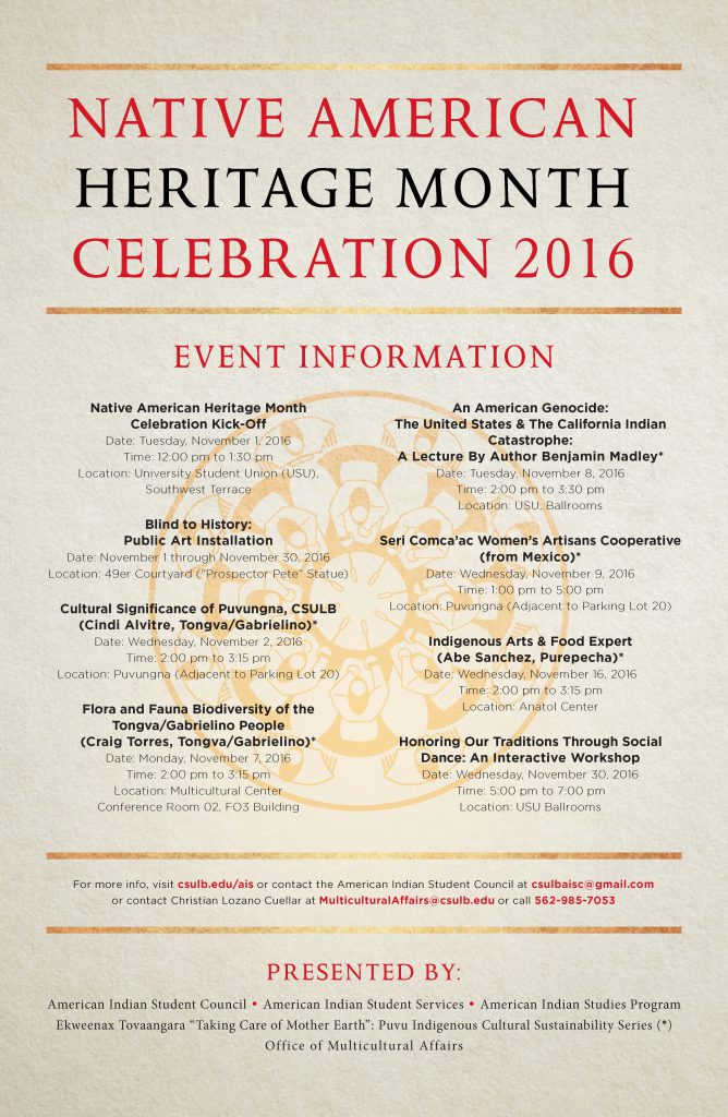 Flyer for Native American Month Celebration