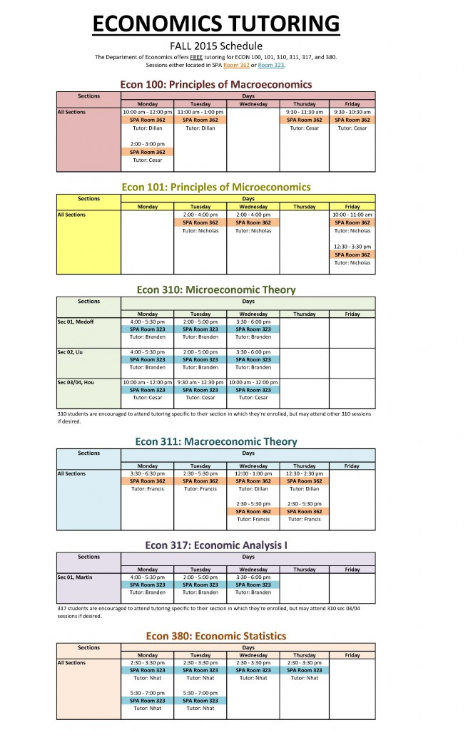 Tutoring schedule fall 2015