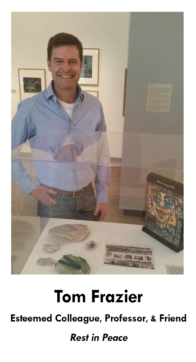 Photo of Tom Frazier with Pieces of the Berlin Wall