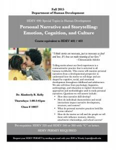 HDEV 490 Narrative Storytelling flyer