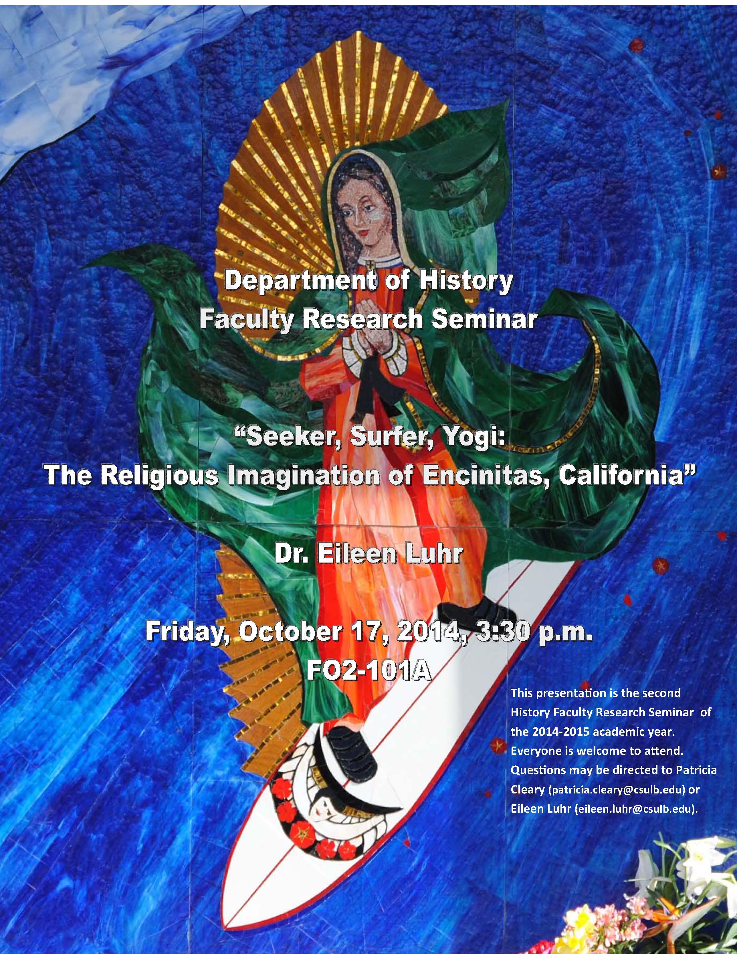 "History Department Research Seminar – ""Seeker, Surfer, Yogi: The Religious Imagination of ..."