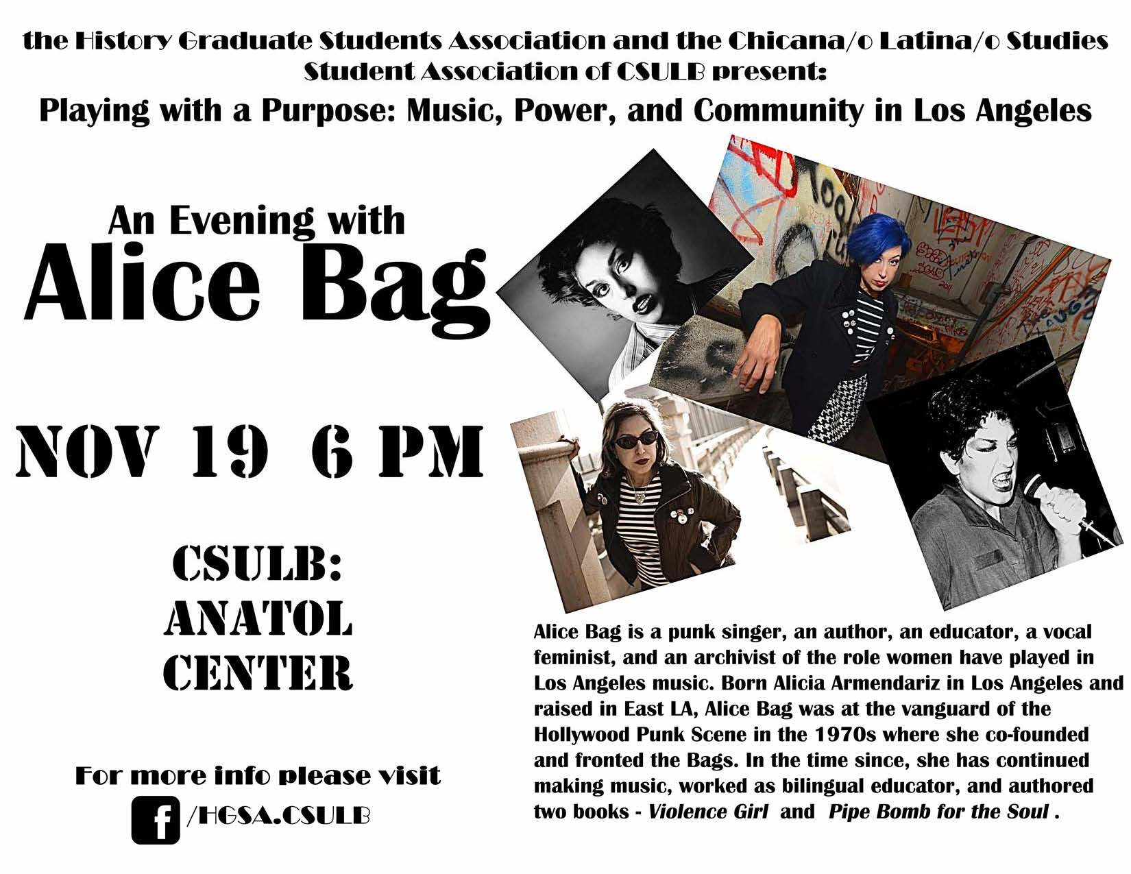 HGSA Presents: An Evening with Alice Bag – History