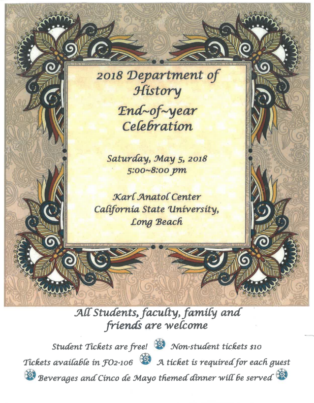 2018 department of history end of year celebration history