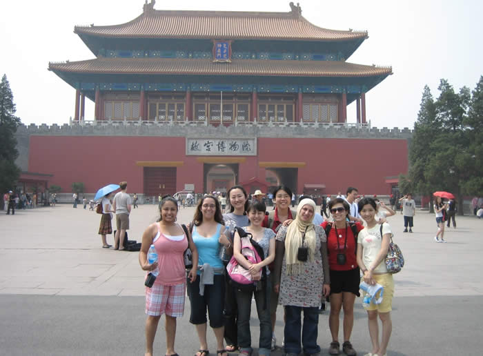 Study Abroad China 2008 - Group of students in front of historical Chinese building