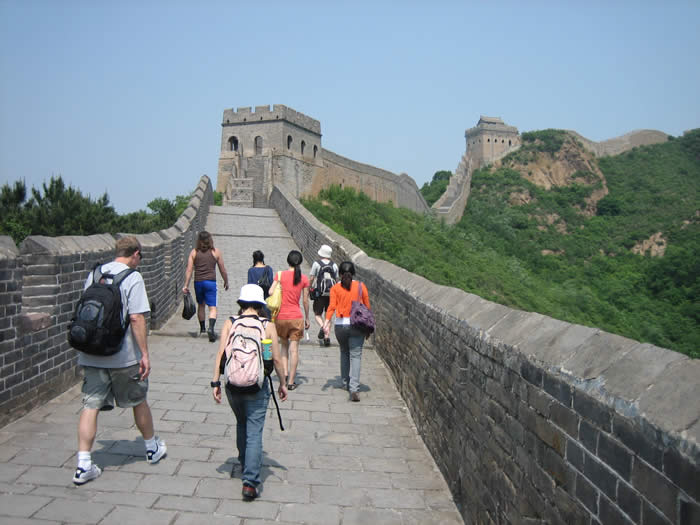 Study Abroad China 2010 - Students walking on the Great Wall