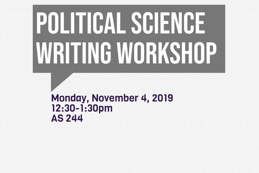 Writing Workshop Flyer Thumbnail. Monday, November 4, 2019 12:30 to 1:30pm in AS 244
