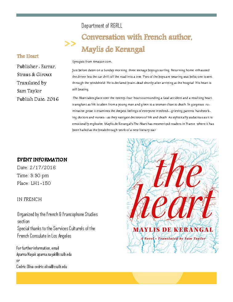 "Conversation with French author of ""The Heart"", Maylis de"