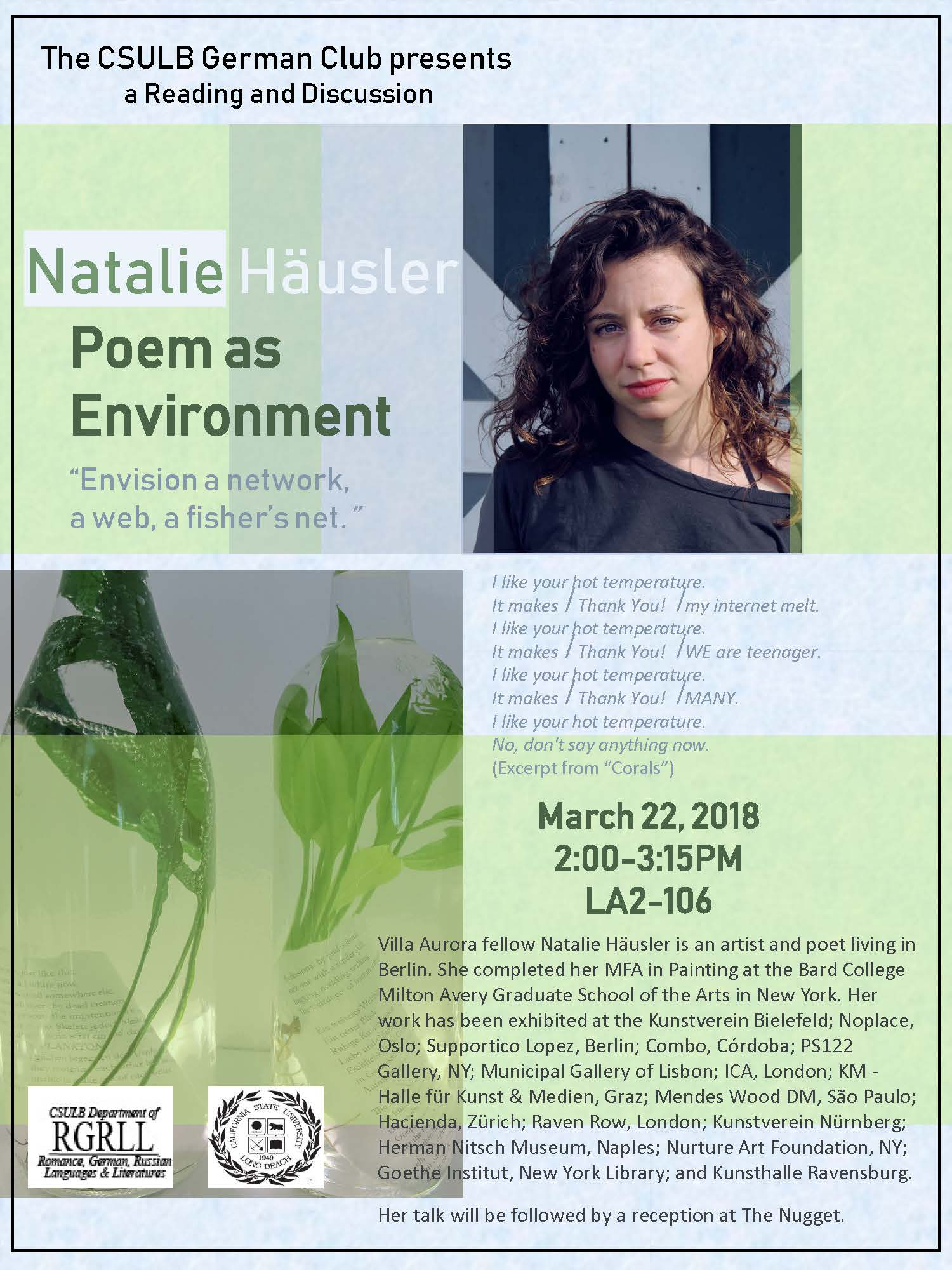 Poem As Environment A Reading Discussion With Natalie
