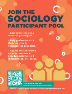 Flyer for sociology participant pool. The flyer is orange, and provides text on the sociology participant pool.