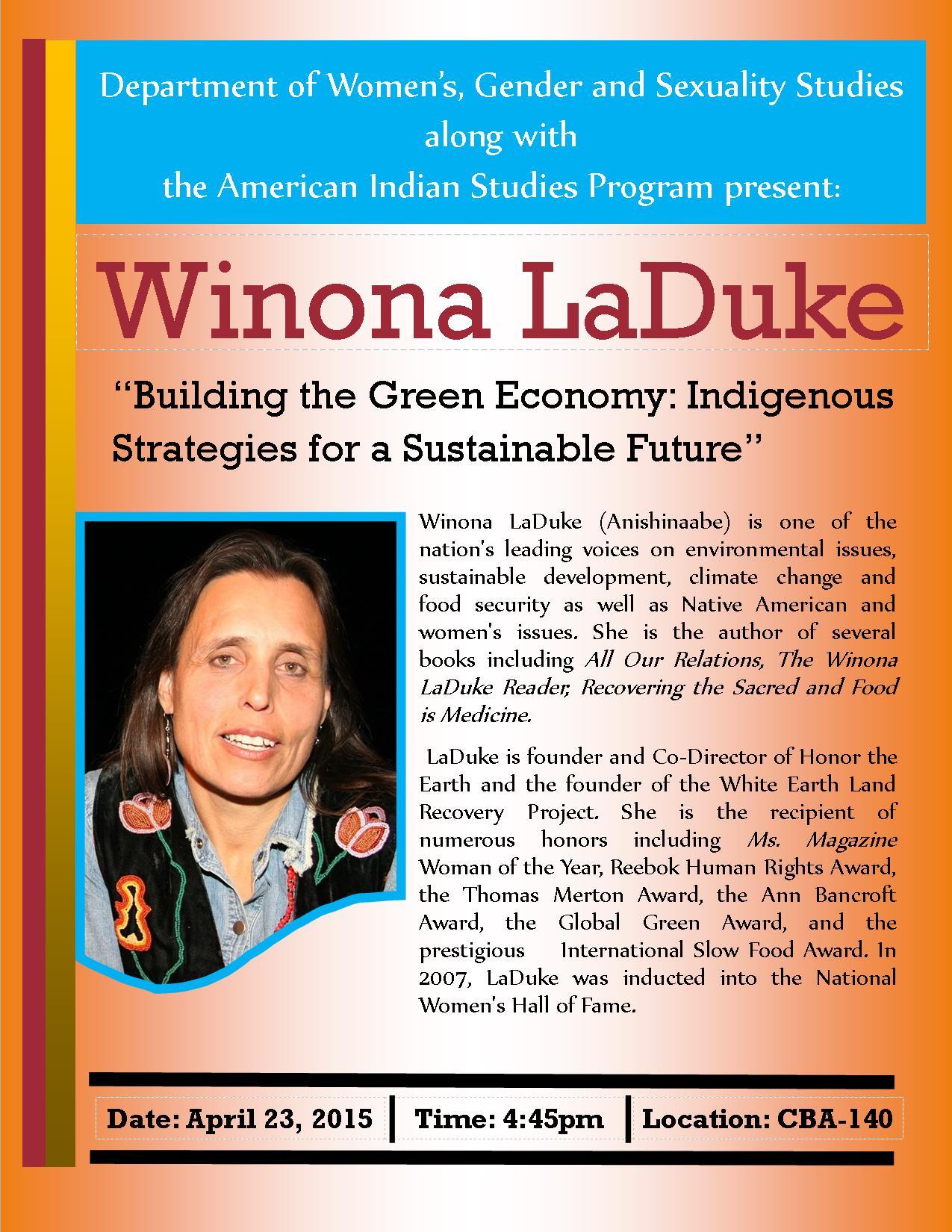 Winona LaDuke Flyer - Revised - 04-06-15
