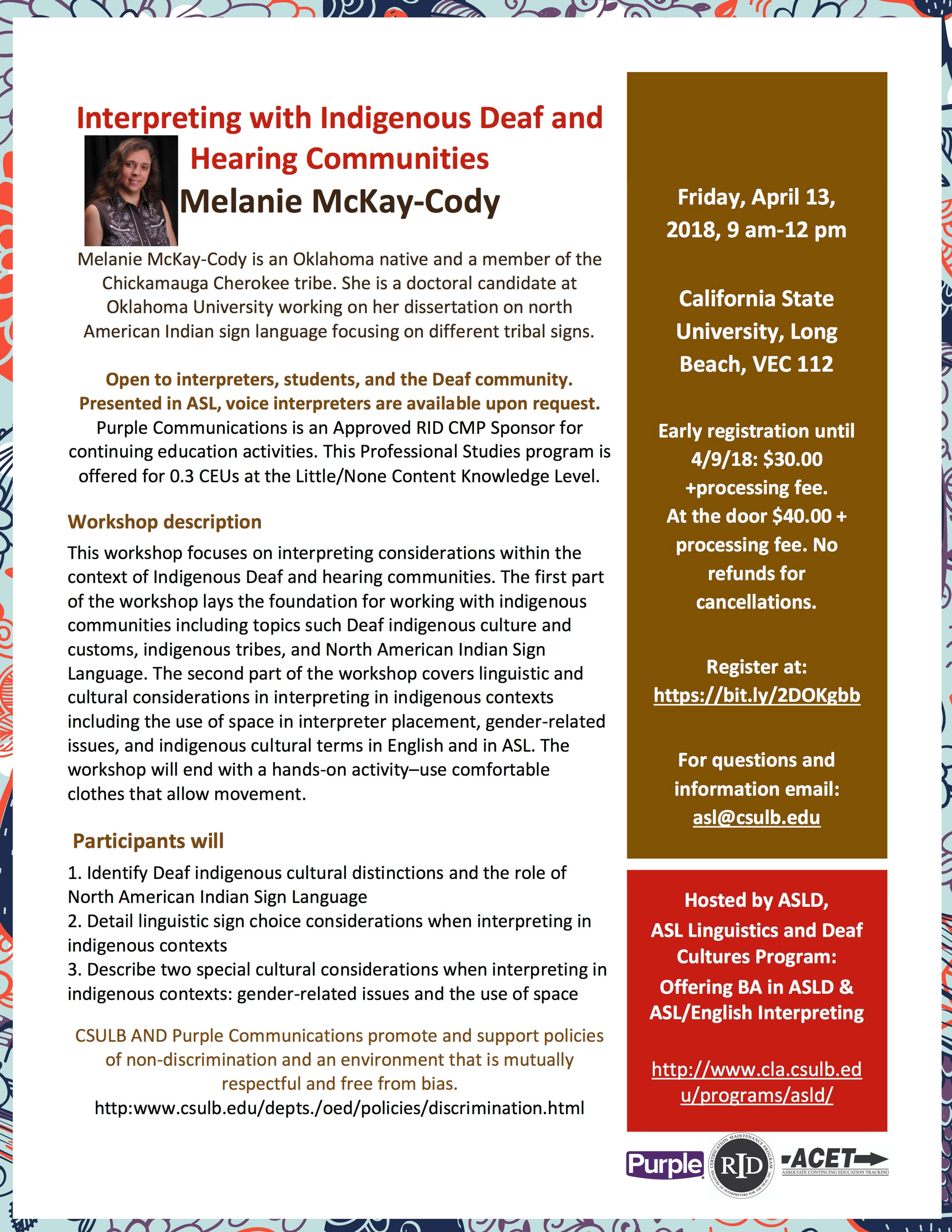 Melanie Workshop Flyer final – ASL Linguistics and Deaf