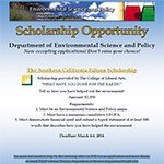 <b>Scholarship Opportunity for ES&P Students</b>