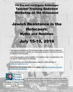 2019 Schlesinger Teacher Training Workshop on the Holocaust, July 15-19