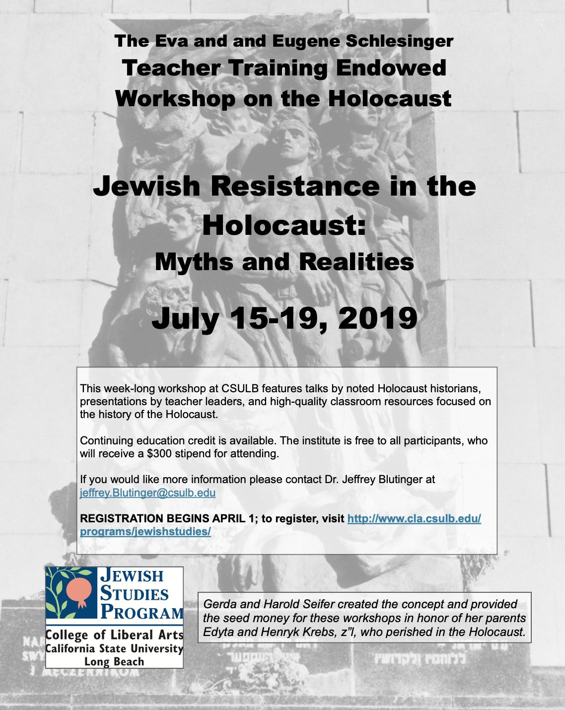 Teacher Training Endowed Workshop on the Holocaust – Jewish