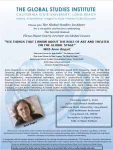 """""""SIX THINGS THAT I KNOW ABOUT THE ROLE OF ART AND THEATER ON THE GLOBAL STAGE"""" With Anne Bogart"""