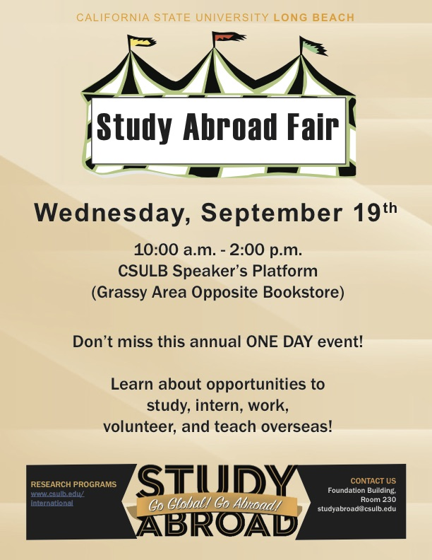 Wednesday September 19 Study Abroad Fair